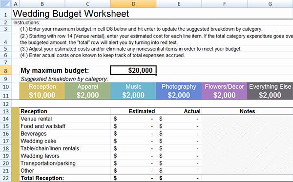 Wedding Checklist Excel Template Unique Wedding Bud Template Wedding Bud