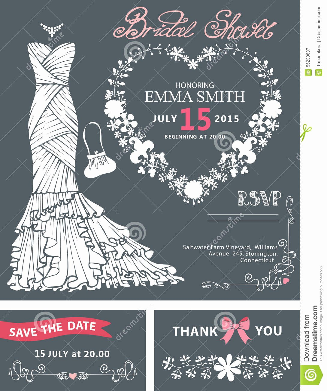 Wedding Dress Invitation Template Awesome Bridal Shower Invitation Template Bridal Dress Stock