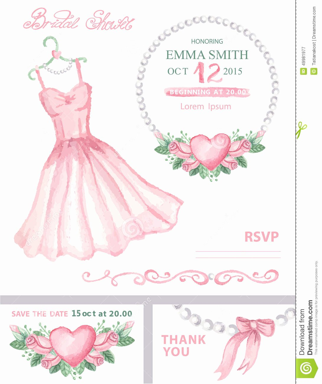 Wedding Dress Invitation Template Beautiful Bridal Shower Invitation Set Watercolor Dress Stock Vector