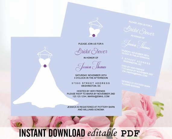 Wedding Dress Invitation Template Beautiful Wedding Gown Bridal Shower Invitation Editable by
