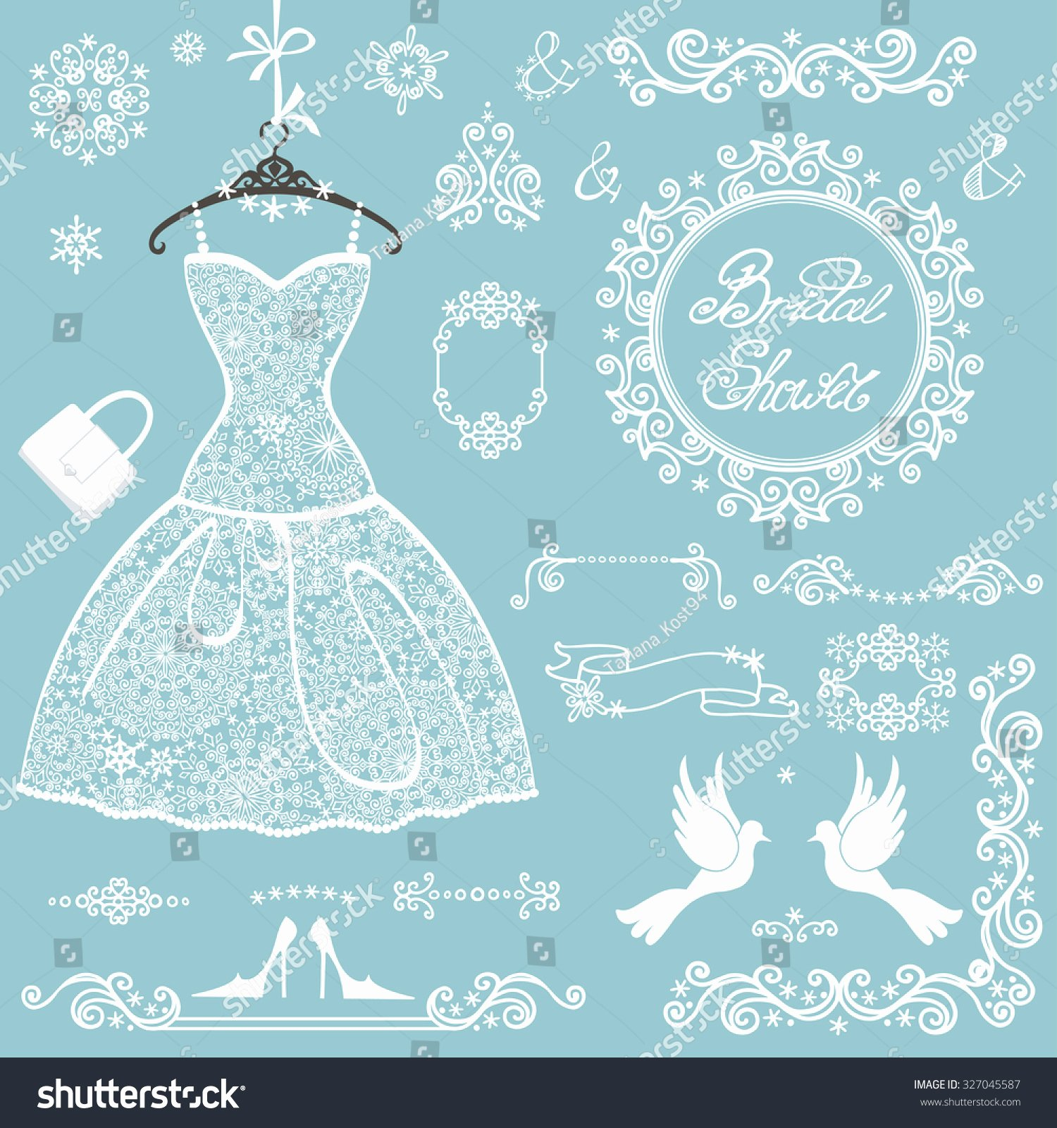 Wedding Dress Invitation Template Best Of Bridal Shower Decor Elements Setwinter Invitation Stock