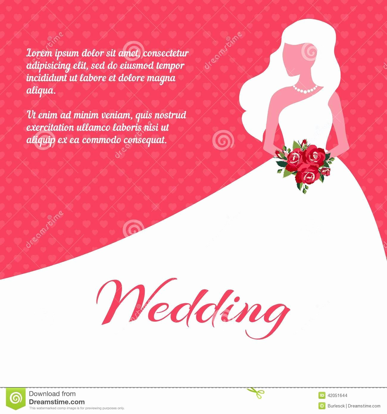 Wedding Dress Invitation Template Fresh Wedding Invitation Card Template Stock Vector Image