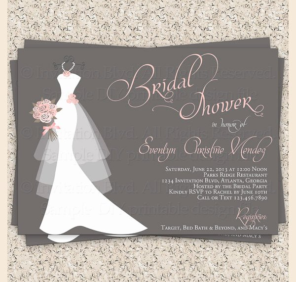 Wedding Dress Invitation Template Lovely 30 Best Bridal Shower Invitation Templates