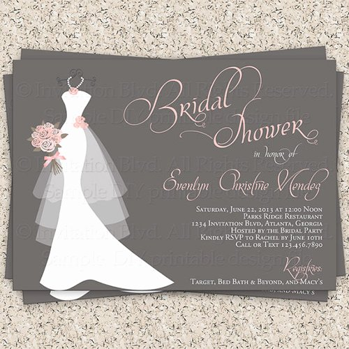 Wedding Dress Invitation Template Lovely 33 Psd Bridal Shower Invitations Templates
