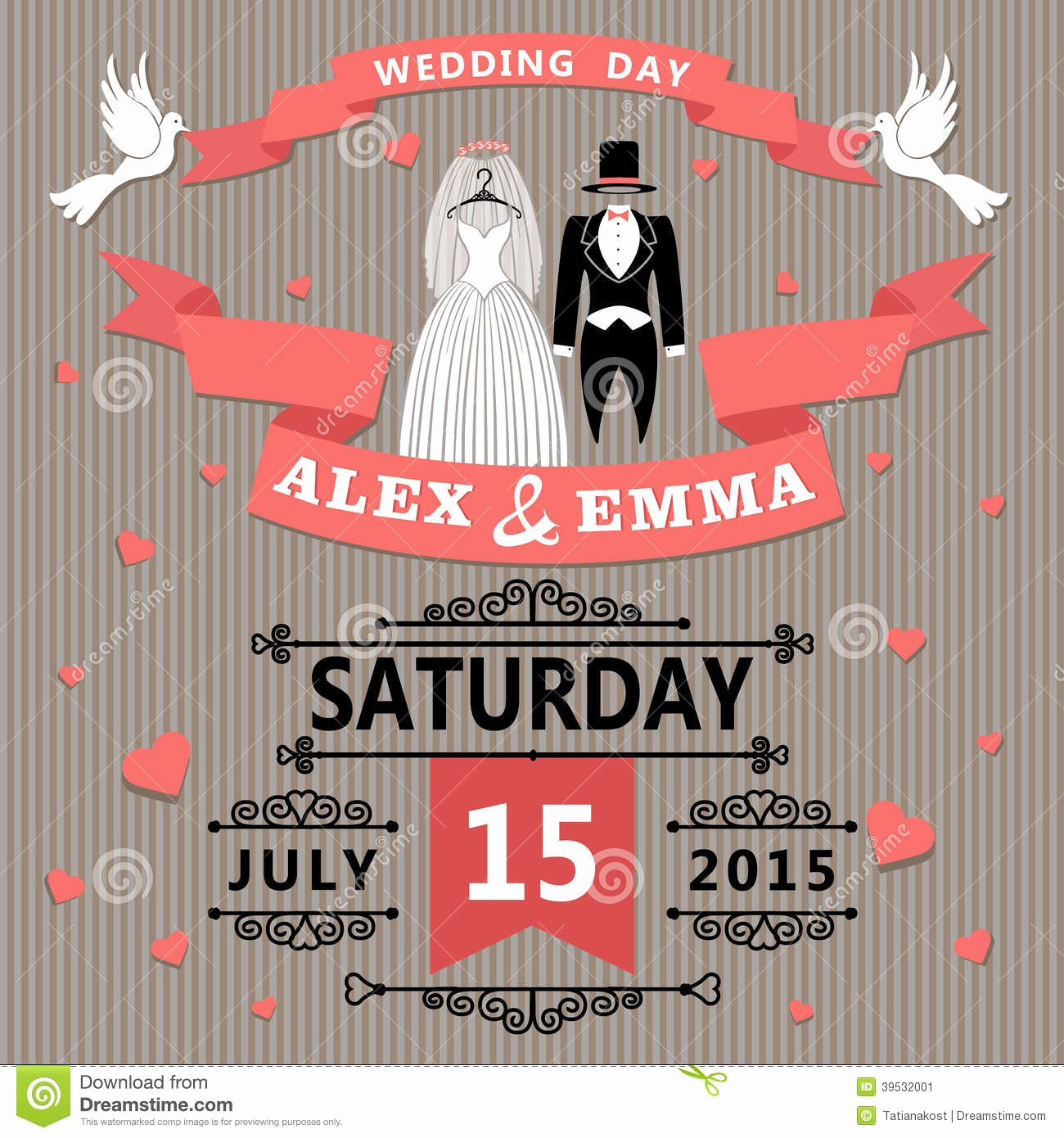 Wedding Dress Invitation Template Lovely Wedding Invitation with Cartoon Dress Bride and Stock