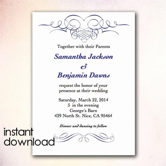 Wedding Invitation Template for Word Awesome Diy Wedding Invitation Template Instant Download by