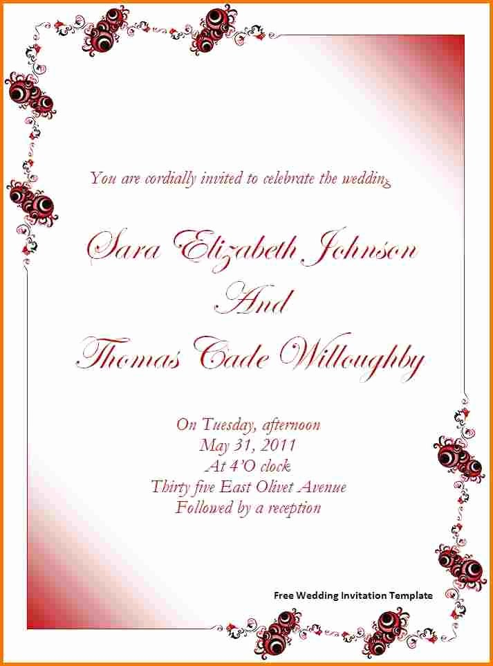 Wedding Invitation Template for Word Awesome Free Wedding Invitation Templates for Word