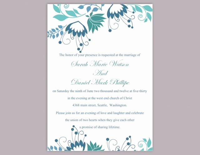Wedding Invitation Template for Word Beautiful Diy Wedding Invitation Template Editable Word File Instant