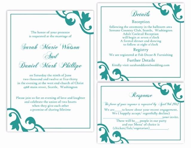 Wedding Invitation Template for Word Beautiful Diy Wedding Invitation Template Set Editable Word File