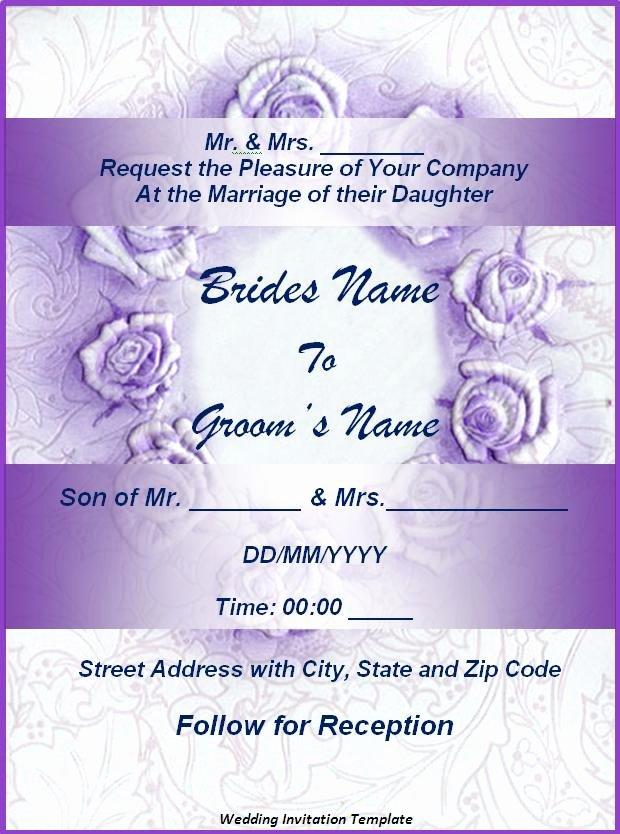Wedding Invitation Template for Word Beautiful Wedding Invitation format
