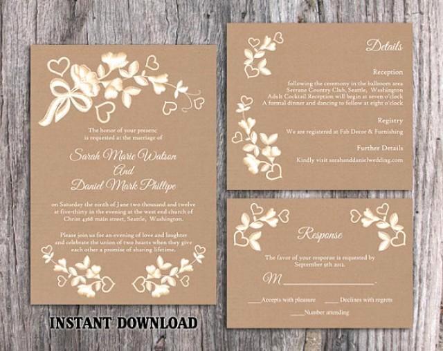 Wedding Invitation Template for Word Elegant Diy Lace Wedding Invitation Template Set Editable Word