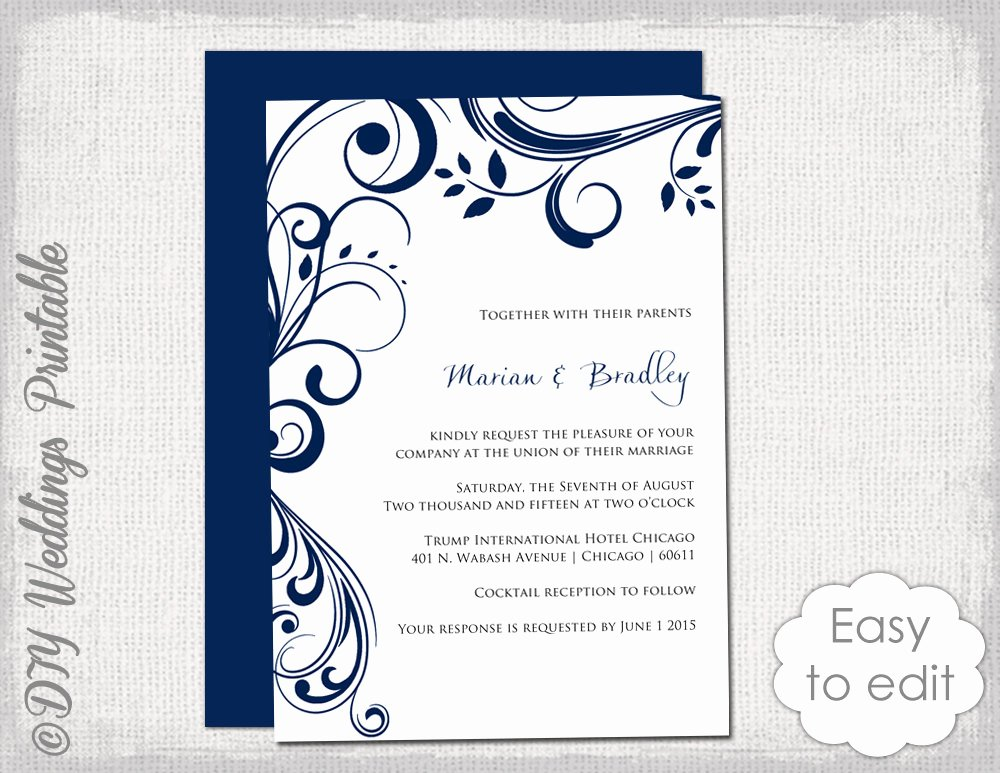 Wedding Invitation Template for Word Lovely Navy Wedding Invitation Template Scroll