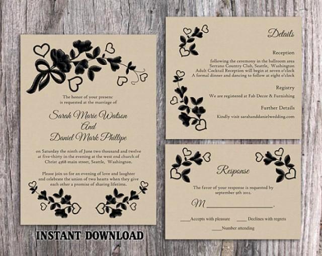 Wedding Invitation Template for Word Luxury Diy Lace Wedding Invitation Template Set Editable Word
