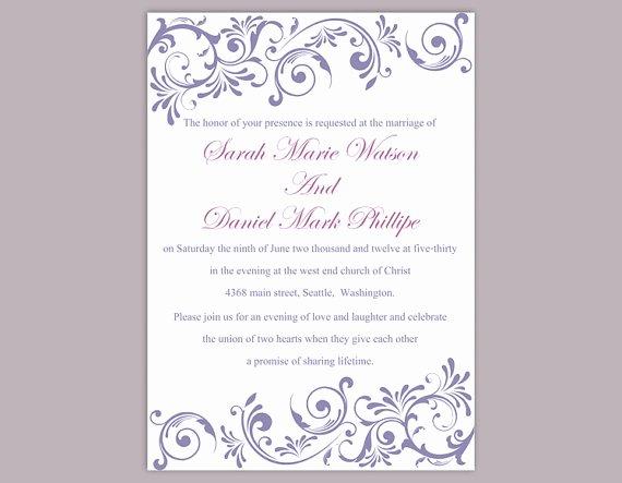 Wedding Invitation Template for Word Luxury Diy Wedding Invitation Template Editable Text Word File
