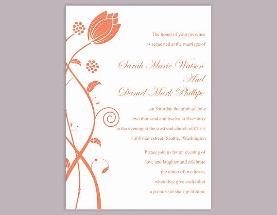 Wedding Invitation Template for Word New Diy Wedding Invitation Template Editable Word File Instant