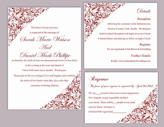 Wedding Invitation Template for Word New Diy Wedding Invitation Template Set Editable Word File