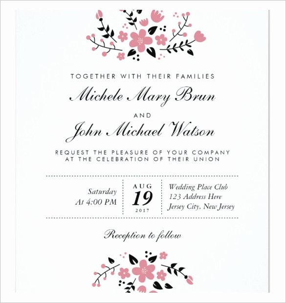 Wedding Invitation Template for Word New Wedding Invitation Template 71 Free Printable Word Pdf