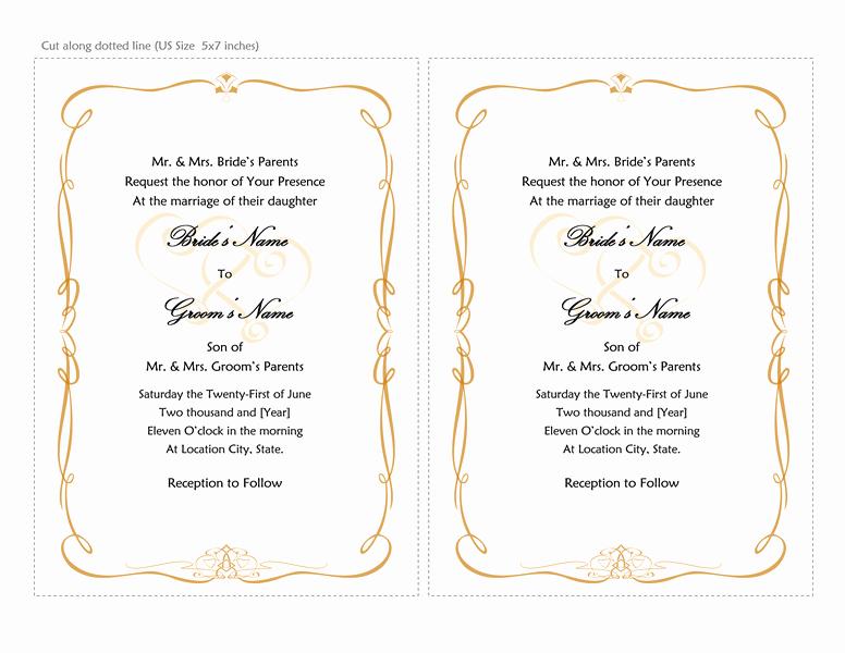 Wedding Invitation Template for Word Unique Microsoft Word 2013 Wedding Invitation Templates