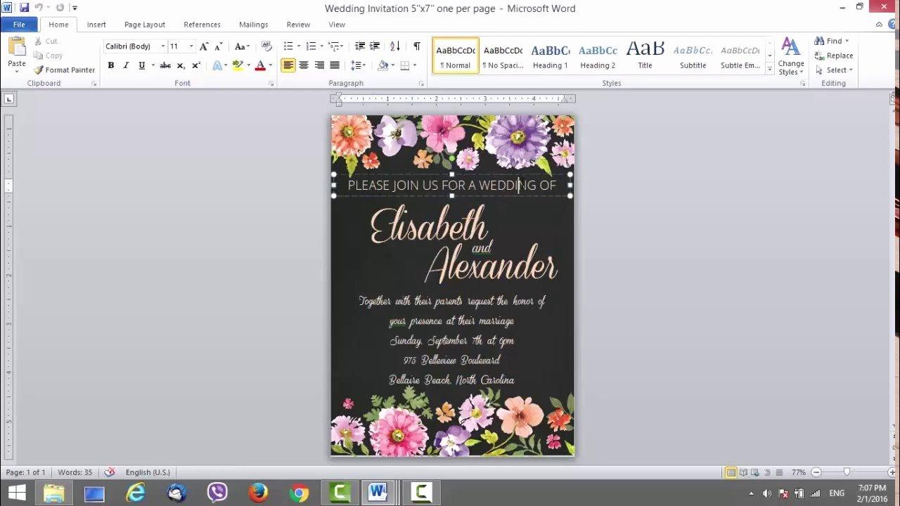 Wedding Invitation Template Microsoft Word Beautiful Wedding Invitation Template for Ms Word