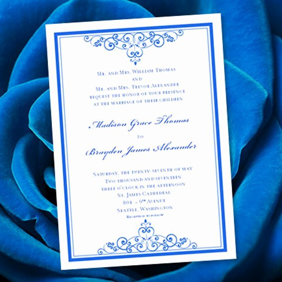 Wedding Invitation Template Microsoft Word Elegant Royal Blue Wedding Invitation Template Editable Microsoft