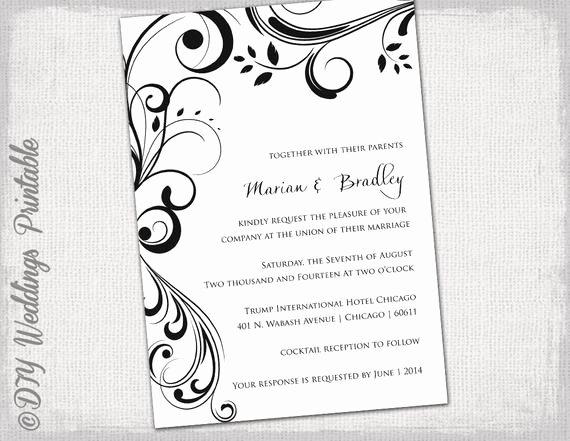 Wedding Invitation Template Microsoft Word Luxury Wedding Invitation Templates Black and White