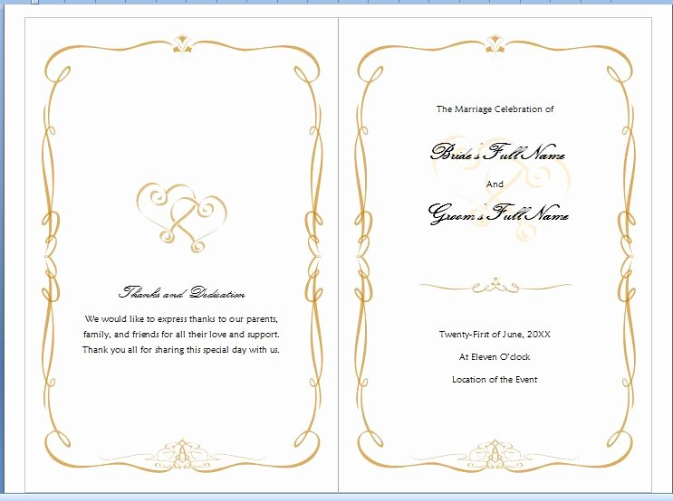 Wedding Invitation Template Microsoft Word New Free Wedding Program Templates