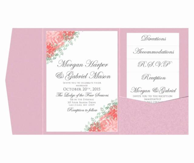 Wedding Invitation Template Microsoft Word New Pocket Wedding Invitation Template Set Instant Download