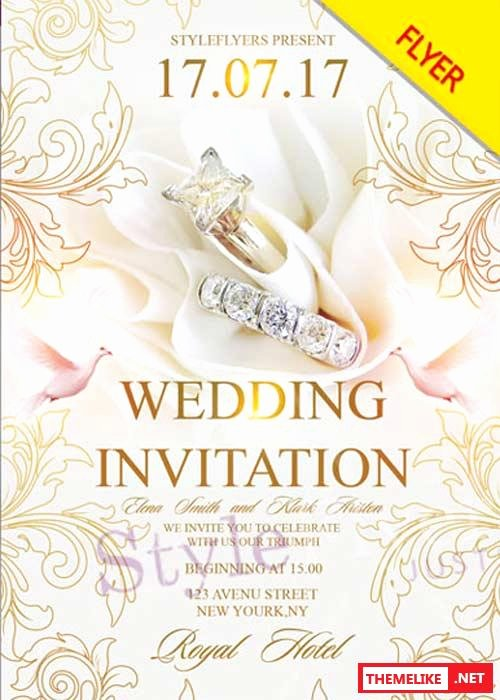 Wedding Invitation Template Photoshop New Wedding Invitation V26 Psd Flyer Template All Design