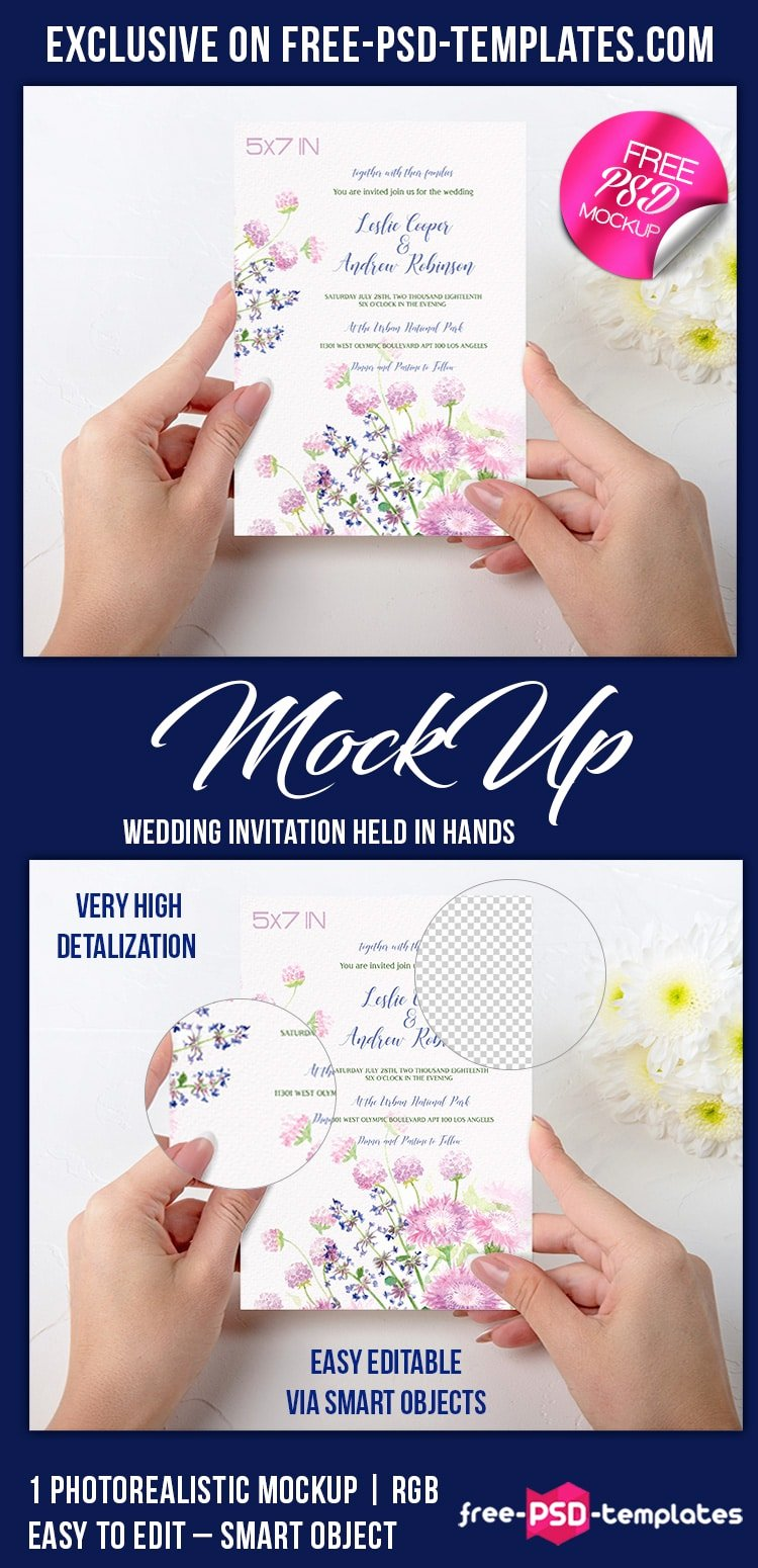 Wedding Invitation Template Psd Awesome Wedding Invitation Mockup Psd Free Template Age themes