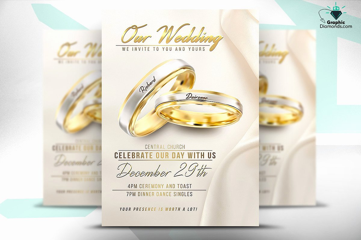 Wedding Invitation Template Psd Beautiful Wedding Flyer Psd Template Flyer Templates Creative Market