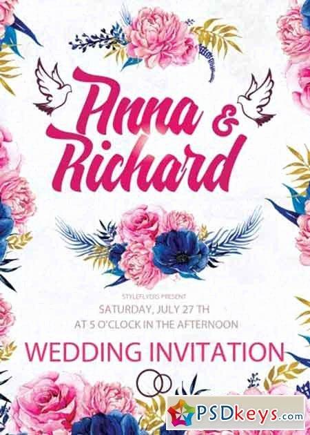 Wedding Invitation Template Psd Beautiful Wedding Invitation Psd Flyer Template Free Download
