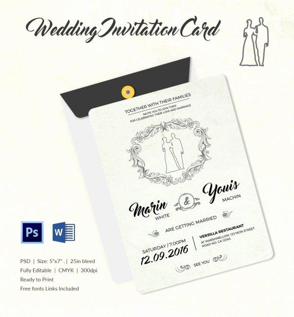Wedding Invitation Template Psd Beautiful Wedding Invitation Template 71 Free Printable Word Pdf