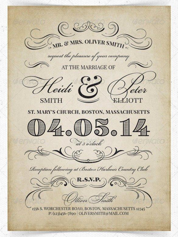 Wedding Invitation Template Psd New 24 Vintage Wedding Invitation Templates Psd Ai