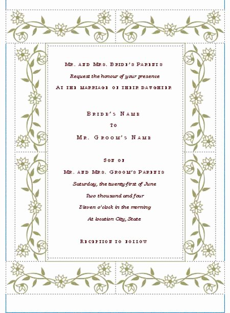 Wedding Invitation Template Word Awesome Free Printable Wedding Invitation Templates
