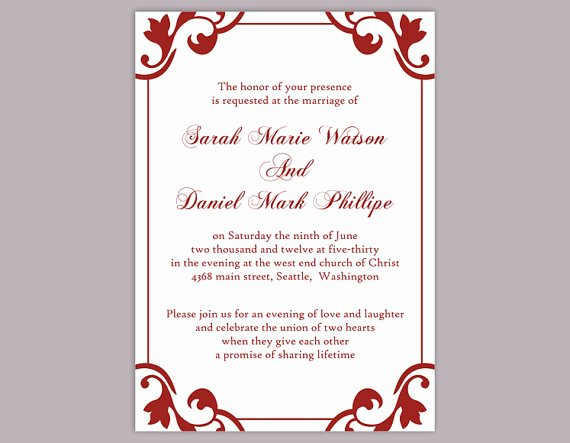 Wedding Invitation Template Word Beautiful Diy Wedding Invitation Template Editable Word File Instant