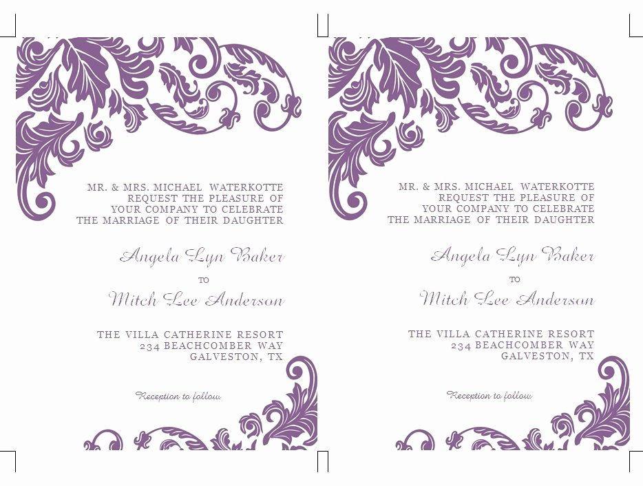 Wedding Invitation Template Word Best Of Items Similar to Printable Ms Word Wedding Invitation