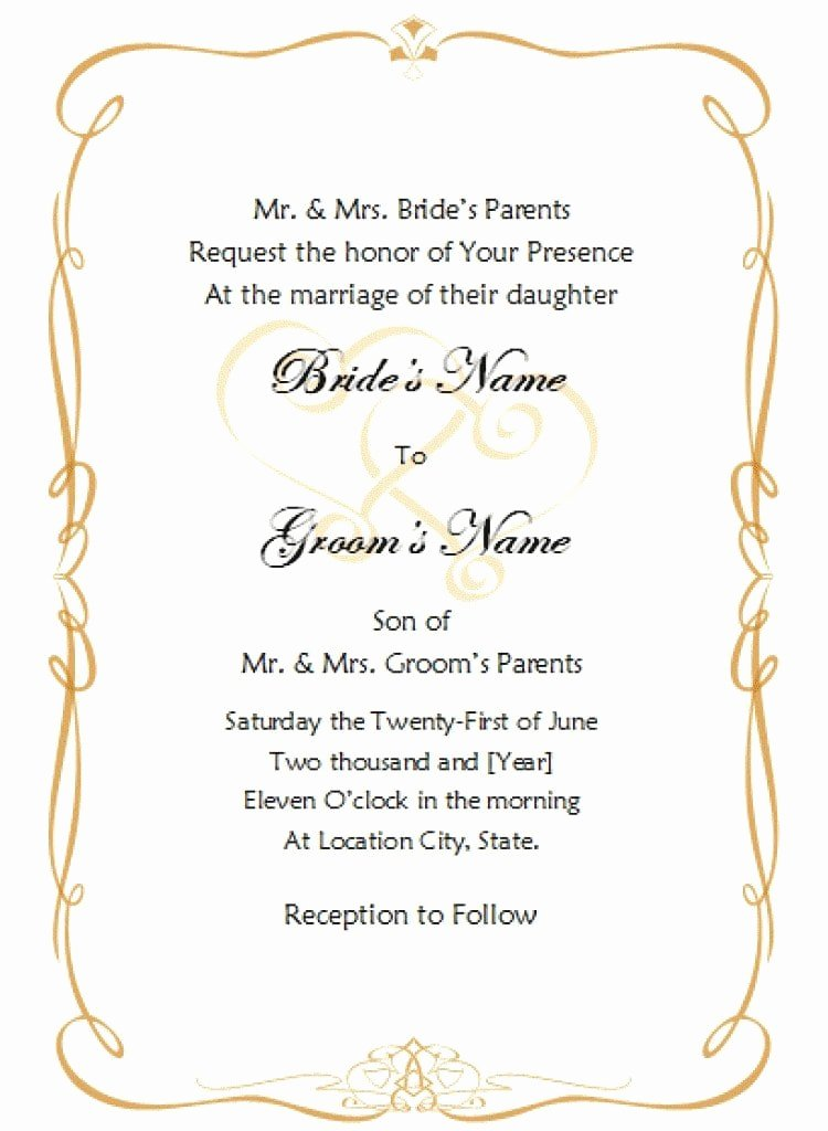 Wedding Invitation Template Word Elegant Invitation Template Word