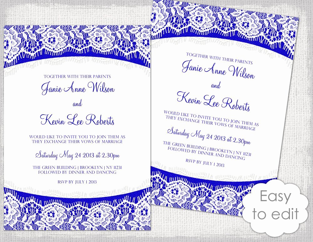Wedding Invitation Template Word Fresh Lace Wedding Invitation Template Royal Blue Linen