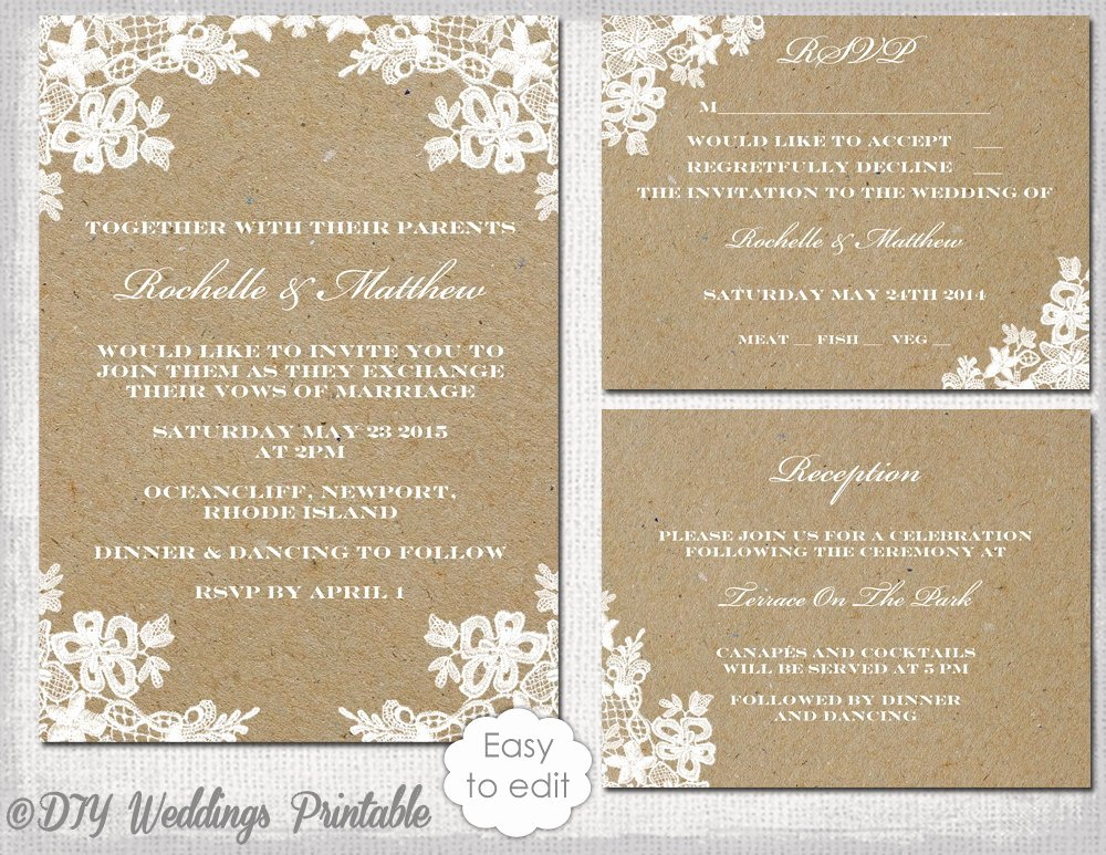 Wedding Invitation Template Word Fresh Rustic Wedding Invitation Set Diy Rustic Lace