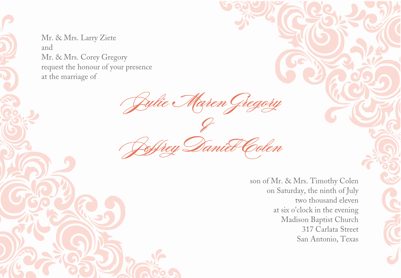 Wedding Invitation Template Word Inspirational Baby Pink Wedding Invitation Template Word Document with