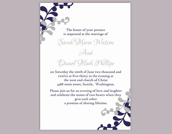 Wedding Invitation Template Word Lovely Diy Wedding Invitation Template Editable Word File Instant