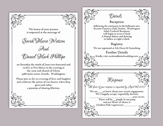 Wedding Invitation Template Word Lovely Diy Wedding Invitation Template Set Editable Word File