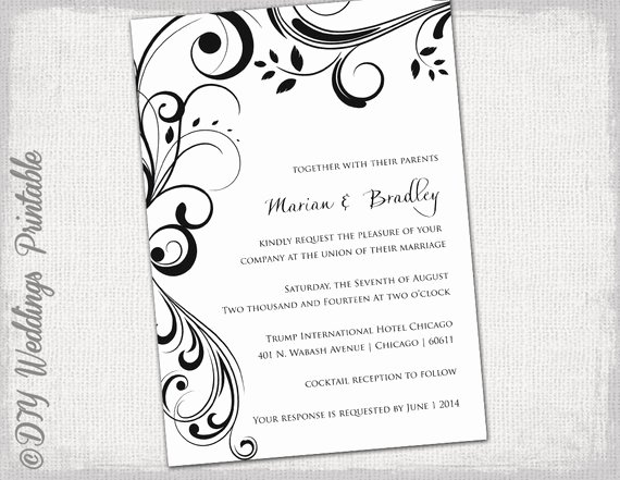 Wedding Invitation Template Word Lovely Wedding Invitation Templates Black and White