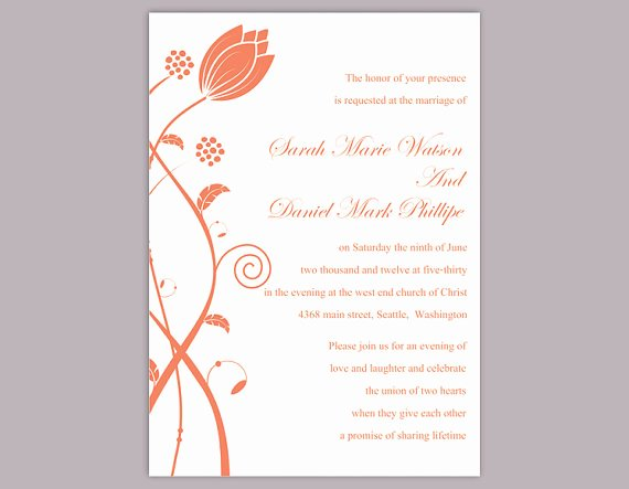Wedding Invitation Template Word Luxury Diy Wedding Invitation Template Editable Word File Instant