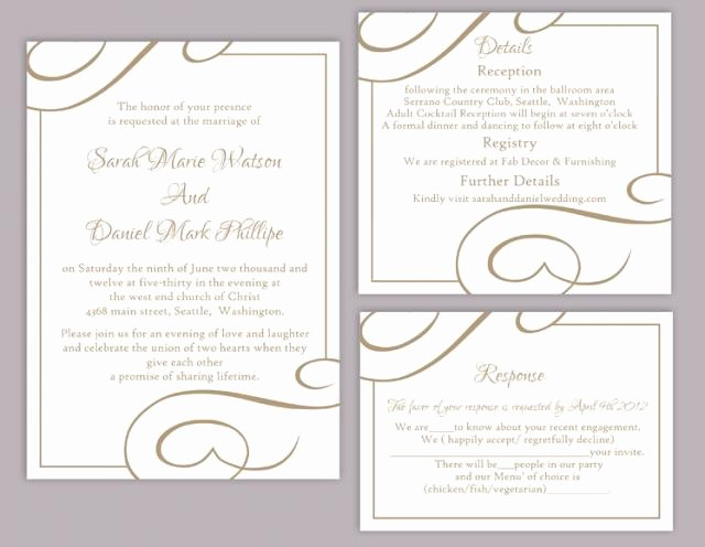 Wedding Invitation Template Word Luxury Diy Wedding Invitation Template Set Editable Word File