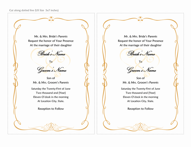 Wedding Invitation Template Word New Microsoft Word 2013 Wedding Invitation Templates