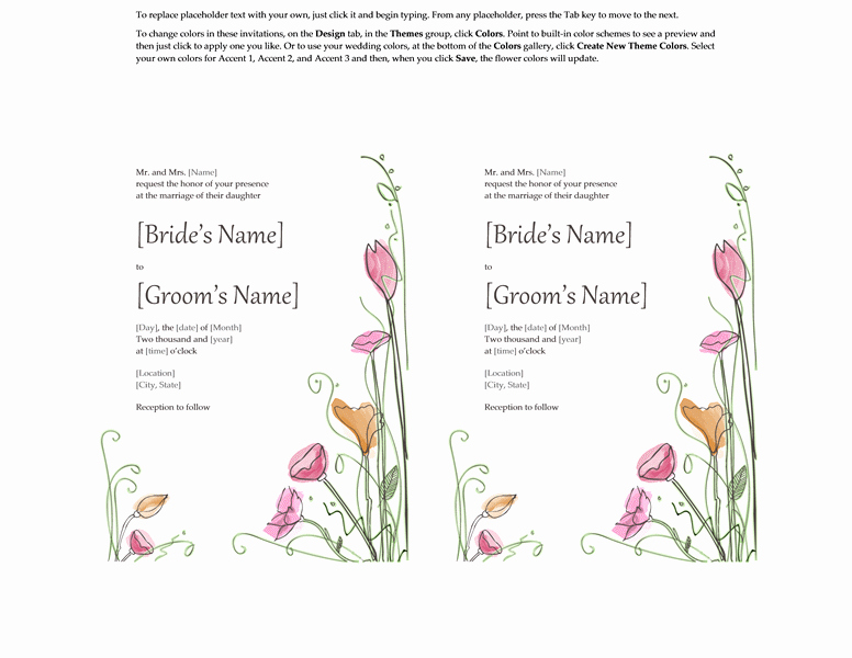 Wedding Invitation Template Word Unique Microsoft Word 2013 Wedding Invitation Templates