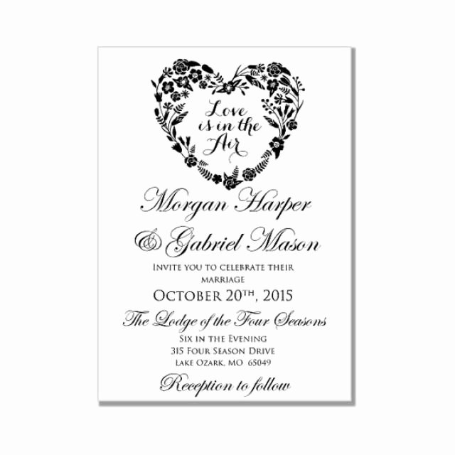 Wedding Invitation Template Word Unique Wedding Invitation Template Love is In the Air Heart