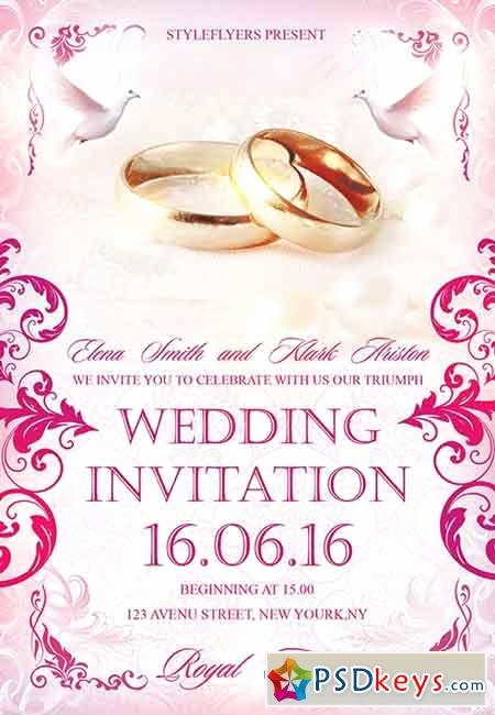 Wedding Invitations Photoshop Template Luxury Wedding Invitation Psd Flyer Template Cover