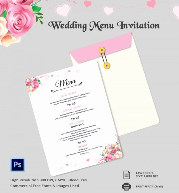 Wedding Invitations Photoshop Template Luxury Wedding Menu Template 24 Download In Pdf Psd Word